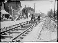 Historic photo from Friday, May 26, 1916 - Men and horses working on King St. east of Strachan Ave. Track reconstruction in Stanley Park