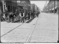 Historic photo from Friday, May 4, 1917 - Queen St., Sherbourne west - Track reconstruction in Moss Park