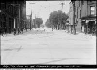 Historic photo from Wednesday, June 26, 1918 - Broadview Hotel on left with Royal Bank of Canada, looking north up Broadview in Riverside-South Riverdale