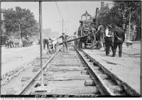 Historic photo from Friday, May 30, 1919 - Spadina Ave. laying new track in Entertainment District