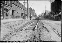 Historic photo from Monday, July 26, 1920 - Ossington Ave. - track reconstruction Queen to Dundas in Trinity Bellwoods