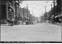Historic photo from Wednesday, August 11, 1920 - Ossington Ave. south from Dundas in Trinity Bellwoods