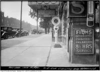 Historic photo from Thursday, June 12, 1930 - Northeast corner Dundas and Spadina Hebrew threatre sign in Chinatown (Spadina Ave)
