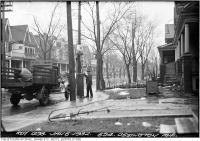 Historic photo from Wednesday, January 6, 1932 - Gas pump outside 594 Ossington Ave in Bickford Park
