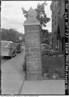 Historic photo from Thursday, October 7, 1937 - Pillar with a ball on the top - southeast corner of Yonge and Manor in Davisville Village