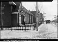 Historic photo from Monday, February 20, 1939 - Iron fence outside church on the southeast corner Brock and Atkin Avenue in Brockton Village