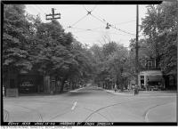 Historic photo from Tuesday, June 13, 1944 - Harbord Street looking east across Spadina Avenue in University of Toronto (U of T)