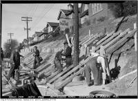 Historic photo from Monday, November 4, 1946 - Oakwood and Regal Road - retaining wall in Regal Heights