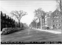 Historic photo from Wednesday, October 26, 1949 - St. George Street, looking north from Russell after widening in University of Toronto (U of T)