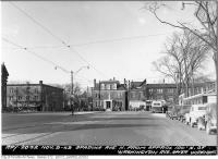 Historic photo from Wednesday, November 9, 1949 - Spadina Avenue looking north from north of Washington Avenue - Dominion, Varsity Grill on Bloor in Huron Sussex