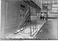 Historic photo from Tuesday, December 12, 1950 - Sign for Canada's First Subway, Shuter Street, east of Yonge in Downtown