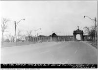 Historic photo from Thursday, March 8, 1951 - Princess Gates - Lakeshore Boulevard looking southwest from east of Strachan Avenue in CNE