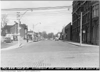 Historic photo from Monday, March 12, 1951 - Gladstone Hotel with ornate carving - Gladstone Avenue looking north from south side Queen in Beaconsfield Village