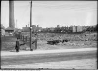 Historic photo from Saturday, May 12, 1917 - Site of garage at Wilton Ave. east of Don with the Don Jail in the background in Riverside-South Riverdale