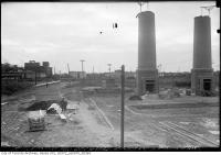 Historic photo from Thursday, December 8, 1932 - Stacks partially built - Symes Road Incinerator in Harwood