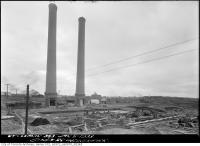 Historic photo from Thursday, January 5, 1933 - Stacks complete - working on foundation - Symes Road Incinerator in Harwood