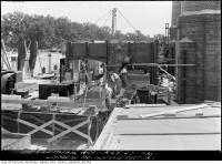 Historic photo from Thursday, July 27, 1933 - Connecting the chimney - Symes Road incinerator in Harwood