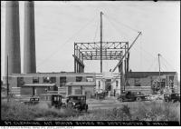 Historic photo from Tuesday, September 19, 1933 - Symes Road destructor - east wall during 2nd story construction in Harwood