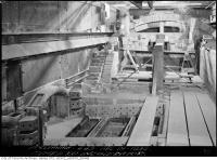 Historic photo from Wednesday, April 18, 1934 - Machinery and curved bricks at the Symes Road incinerator in Harwood