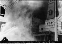 Historic photo from Monday, November 17, 1941 - Lyons Furniture Store fire next to the old Fire Hall No. 3, later St. Charles Tavern in Church-Wellesley Village