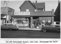 Historic photo from Sunday, October 28, 1962 - Parliament Theatre (on left) next to 305-307 Parliament Street in Regent Park