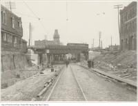 Historic photo from Wednesday, November 17, 1897 - Gladstone Hotel in distance, Union hotel on right - Queen Street construction at the Dufferin subway looking east in Beaconsfield Village