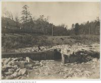 Historic photo from Friday, February 24, 1899 - After the breaking up of the Don River : entrance to Rosedale Creek sewer in Riverdale park