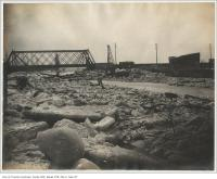 Historic photo from Wednesday, February 9, 1900 - Demolished Eastern Avenue wooden bridge looking north from Grand Trunk Railway bridge (Don) in Don River