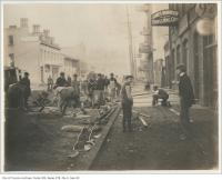 Historic photo from 1899 - James Morrison Brass Mfg Co outside construction of concrete sidewalk south side of Adelaide Street from Bay Street to York Street in Downtown