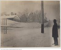 Historic photo from 1890 - Power lines down, covered in ice - Ontario Street south of Dundas St (was Wilton Avenue) looking north in Garden District