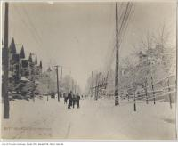 Historic photo from 1890 - Ice damage on Huron Street north of Russell Street in University of Toronto (U of T)