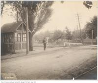 Historic photo from Thursday, October 6, 1904 - Man in hat at the Grand Trunk Railway crossing Dunn Avenue in Parkdale