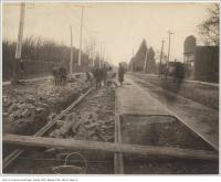 Historic photo from 1890 - Streetcar tracks and paving stones on Queen St east of Lee Ave in The Beaches