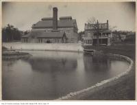 Historic photo from 1906 - Looking across the pond to the old square chimney at the High Level Pumping Station in Republic of Rathnelly