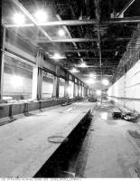 Historic photo from Friday, October 27, 1950 - Construction of the Queen Street Subway Station showing steel beams in the ceiling in Downtown