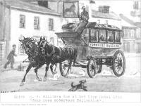 Historic photo from 1850 - Pencil sketch of the H.B. Williams 'Yorkville Buss Line' coach in front of the Red Lion Hotel - John Ross Robertson Collection in Yorkville