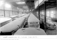 Historic photo from Friday, June 29, 1934 - Old streetcars and buses in the Sherbourne St Garage in St. Lawrence