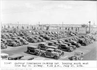 Historic photo from Friday, July 17, 1936 - Harbour Commission parking lot, looking south-east, from Bay St, subway, 4:00 p.m. in Harbourfront
