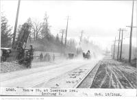 Historic photo from Thursday, October 19, 1922 - Track construction and horses on Yonge St, at Lawrence Ave, looking north in Lawrence Park