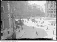 Historic photo from Saturday, April 7, 1923 - Queen and Bay, looking north-west in City Hall