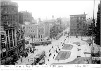 Historic photo from Friday, April 13, 1923 - Elevated view of Queen and Bay St, looking west, 5:15 p.m. in City Hall