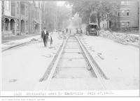 Historic photo from Friday, July 27, 1923 - Houses and track work - Winchester St, west, to Sackville St in Cabbagetown