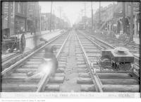 Historic photo from Wednesday, November 28, 1923 - Laying streetcar tracks on Dundas, looking west, from Pacific in The Junction
