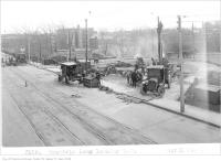 Historic photo from Thursday, April 24, 1924 - Laying track in the Rosedale Loop, looking south-west in Rosedale