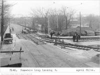 Historic photo from Wednesday, April 30, 1924 - Construction of Rosedale Loop on Sherbourne, looking south to Bloor in Rosedale