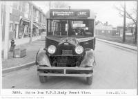 Historic photo from Thursday, November 20, 1924 - White bus, TTC body - corner of Annette and Jane Streets in Baby Point