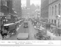 Historic photo from Wednesday, December 24, 1924 - Bay Street, looking north, from Adelaide, noon hour traffic and Walshs Cafeteria in Downtown