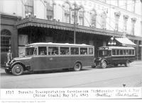 Historic photo from Tuesday, May 12, 1925 - Rossin House (then the Prince George Hotel) with buses out front in Financial District