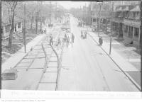 Historic photo from Thursday, May 14, 1925 - Track construction on Dupont St, looking east, from Bathurst in The Annex