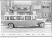 Historic photo from Thursday, March 25, 1926 - Yellow coach, model X outside Casa Loma guest house in Casa Loma